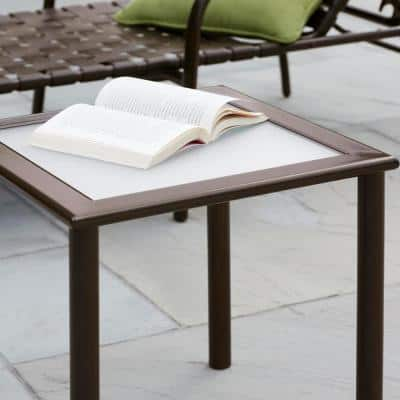18 in. Commercial Aluminum Square Outdoor Patio Acrylic Top Side Table in Brown