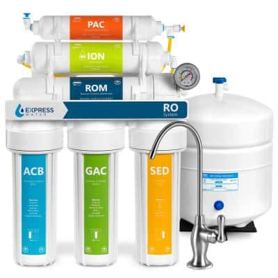 Express Water Reverse Osmosis Deionization 6 Stage Water Filtration System – with Faucet and Tank – 100 GPD