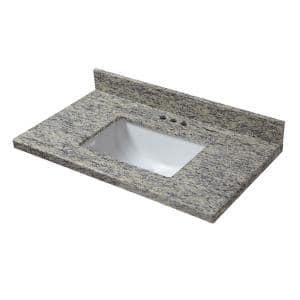 25 in. W x 22 in. D Granite Vanity Top in Santa Cecilia with White Single Trough Sink