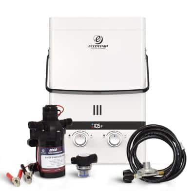 Luxe 1.85 GPM Outdoor Portable Gas Tankless Water Heater with EccoFlo Diaphragm 12-Volt Pump and Strainer