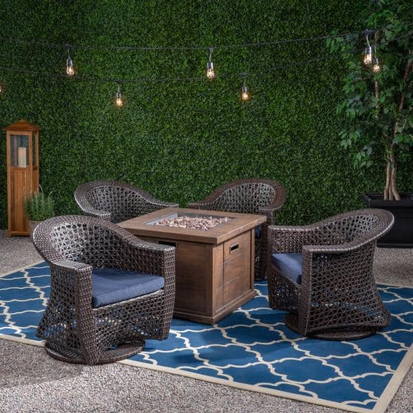 Noble House Big Sur Multi Brown 5 Piece Wicker Swivel Chairs Patio Fire Pit Seating Set With Navy Blue Cushions 55235 The Home Depot