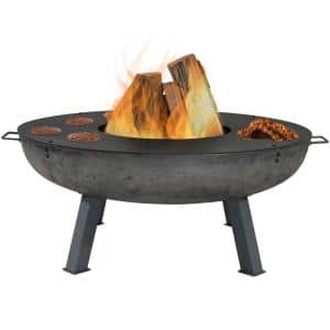 45 in. x 17 in. Round Cast Iron Wood Burning Fire Pit with Cooking Ledge