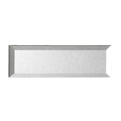 Reverse Beveled Metallic Silver Subway 3 in. x 12 in. Glossy Glass Decorative Wall Tile (14 sq. ft./Case)