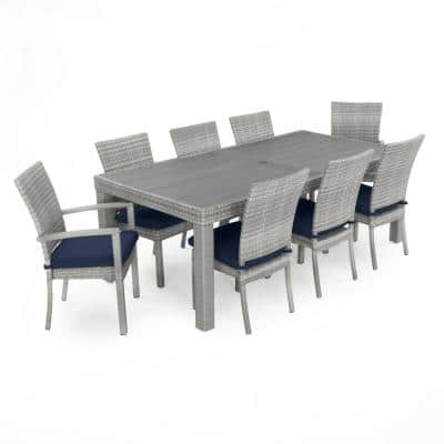 Cannes 9-Piece Wicker Outdoor Dining Set with Sunbrella Navy Blue Cushions