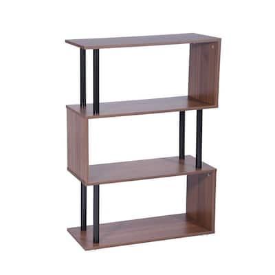 Ancel 43.3 in. Brown 3-Shelf Standard Bookcase