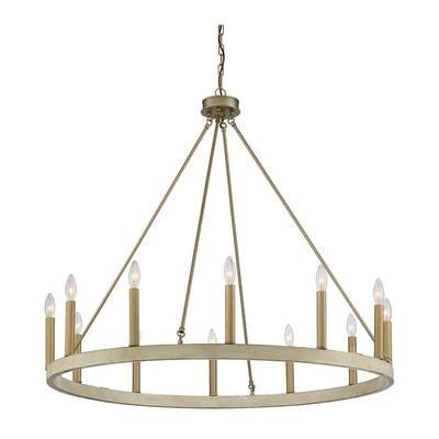 Candle Style 12-Light Oak Brass Wagon Wheel Chandelier