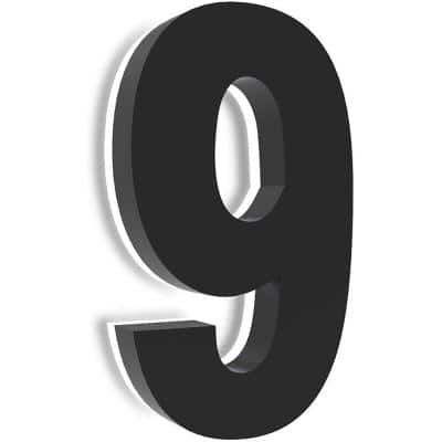 8 in. Upscale LED Modern House Number, Stainless Steel with Black Coating and Backlit House Number(Black 9)