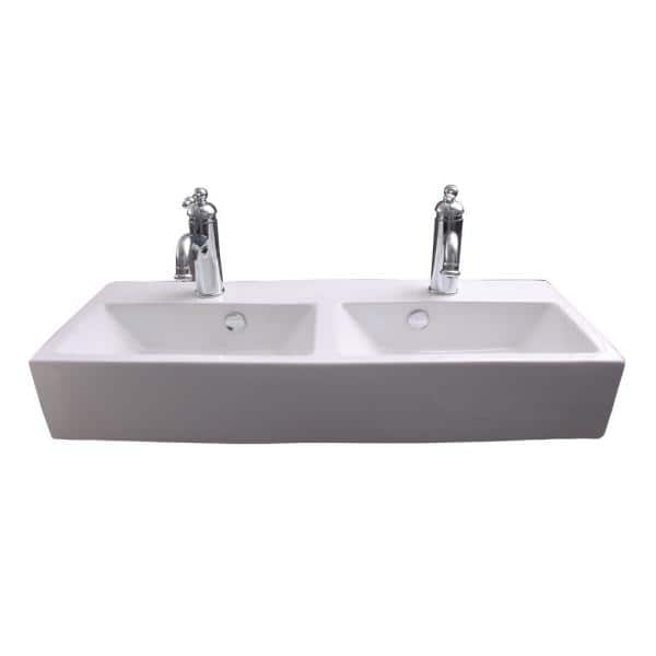 Barclay S Windfield Double Bowl, Double Porcelain Bathroom Sink