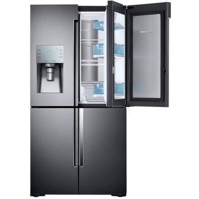 22.1 cu. ft. 4-Door Flex Food Showcase French Door Refrigerator in Black Stainless, Counter Depth