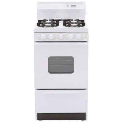 20 in. 2.42 cu. ft. Freestanding Gas Range with Sealed Burners in White