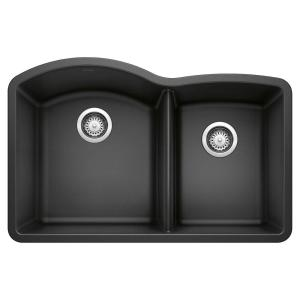 DIAMOND Undermount Granite Composite 32 in. 60/40 Double Bowl Kitchen Sink in Anthracite