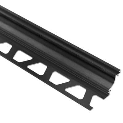 Dilex-AHK Brushed Graphite Anodized Aluminum 3/8 in. x 8 ft. 2-1/2 in. Metal Cove-Shaped Tile Edging Trim