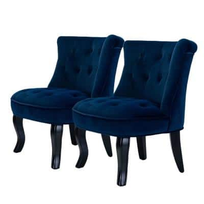 Jane Navy Tufted Accent Chair (Set of 2)