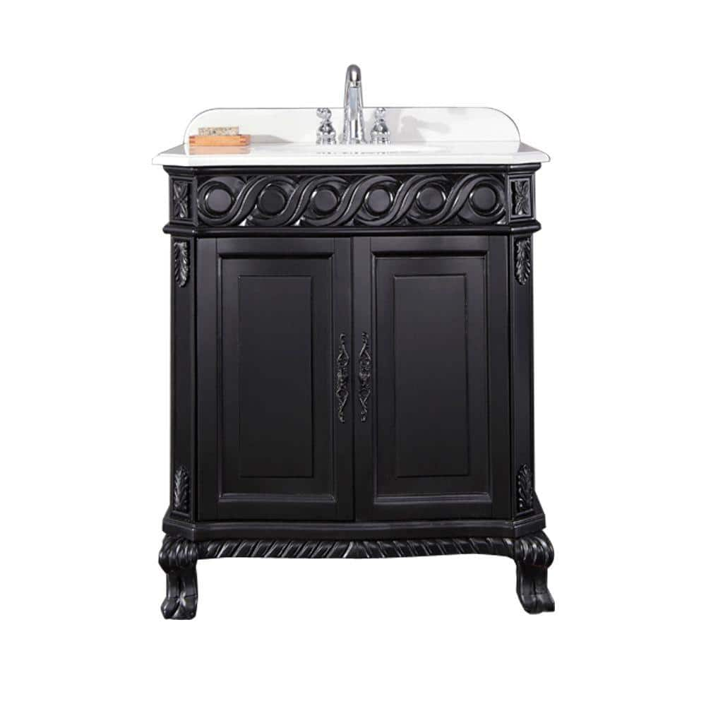 Ove Decors Trent 30 In W X 21 In D Single Sink Vanity In Black Antique With Cultured Marble Vanity Top In White Trent 30 The Home Depot