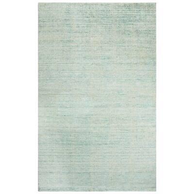 Demure Aqua 5 ft. x 8 ft. Gradient Solid Wool Viscose Area Rug