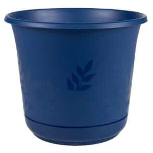Freesia 16 in. Classic Blue Plastic Planter with Saucer