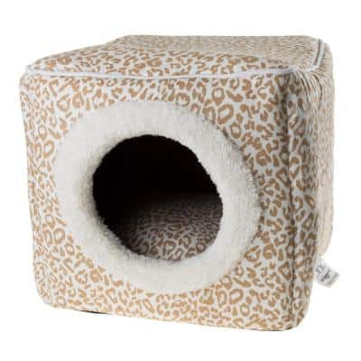 Small Tan/White Animal Print Cozy Cave Pet Cube