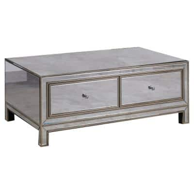 Brimmington 2-Drawer 47.5 in. L Silver Mirrored Coffee Table