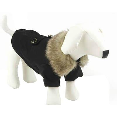 Small Black Buttoned Coast-Guard Fashion Faux-Fur Collared Wool Dog Coat