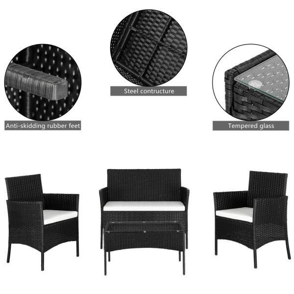 Winado Black 4 Piece Wicker Patio, Rubber Feet For Outdoor Furniture Home Depot