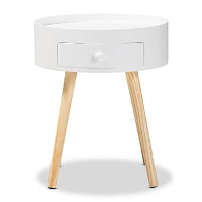 Jessen 1-Drawer White Nightstand