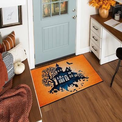 Haunted Silhouette Orange 2 ft. 6 in. x 4 ft. 2 in. Halloween Indoor Area Rug