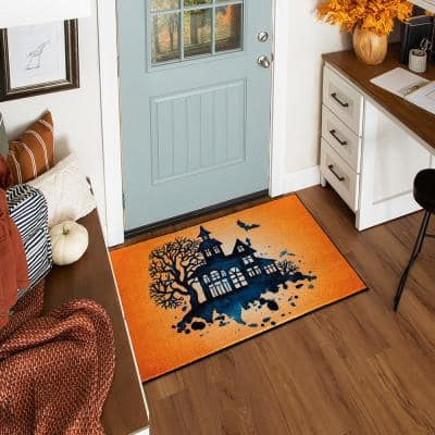 Haunted Silhouette Orange 2 ft. 6 in. x 4 ft. 2 in. Holiday Area Rug