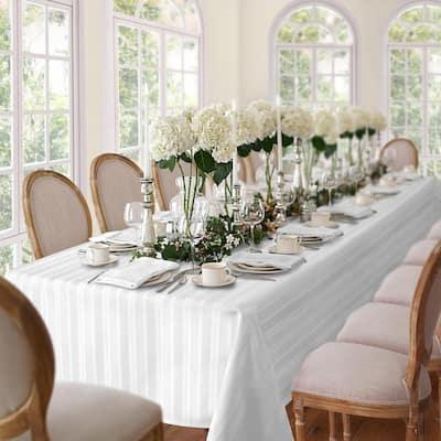 60 in. W x 102 in. L White Denley Stripe Damask Fabric Tablecloth