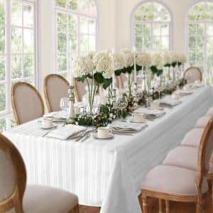 60 in. W x 120 in. L White Denley Stripe Damask Fabric Tablecloth