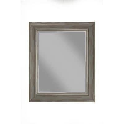 Medium Rectangle Grey Beveled Glass Antiqued Mirror (30 in. H x 36 in. W)