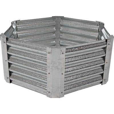 40 in. Hexagon Galvanized Steel Raised Garden Bed