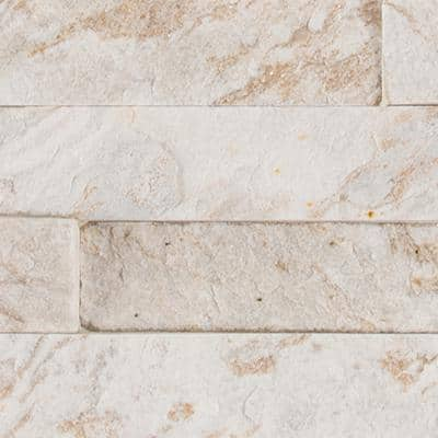 Royal White Splitface Ledger Panel 6 in. x 24 in. Natural Quartzite Wall Tile (6 sq. ft./Case)