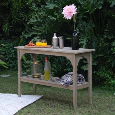 Colton Weathered Gray Teak Rectangular Wood Outdoor Side Table