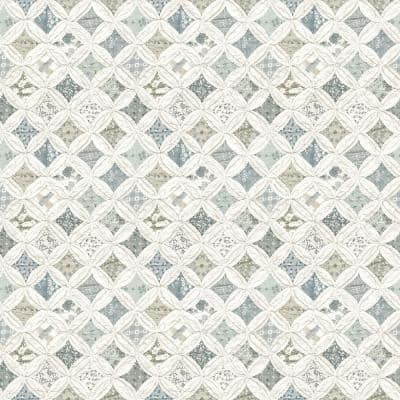 Mcentire Teal Geometric Quilt Teal Wallpaper Sample