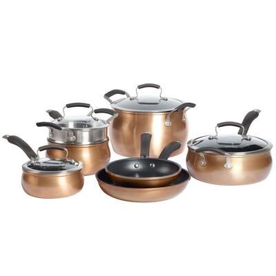 Translucent 11-Piece Hard-Anodized Aluminum Nonstick Cookware Set in Copper