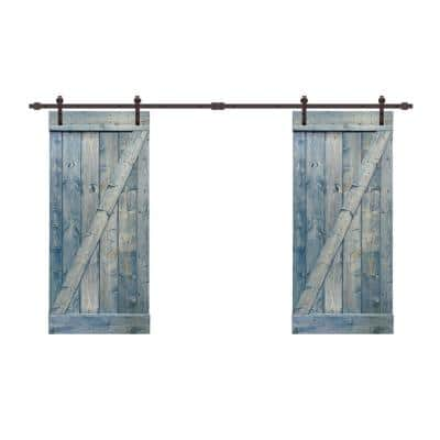 48 in. x 84 in. Z Bar Series Denim Blue Stained Solid Pine Wood Interior Double Sliding Barn Door with Hardware Kit