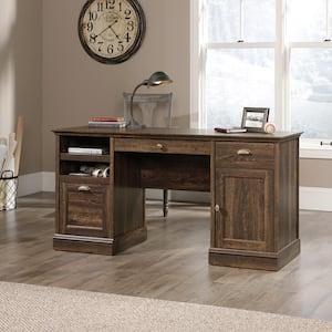 59 in. Rectangular Iron Oak 3 Drawer Executive Desk with File Storage