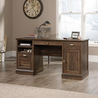 59 in. Rectangular Iron Oak 3 Drawer Executive Desk with File Storage