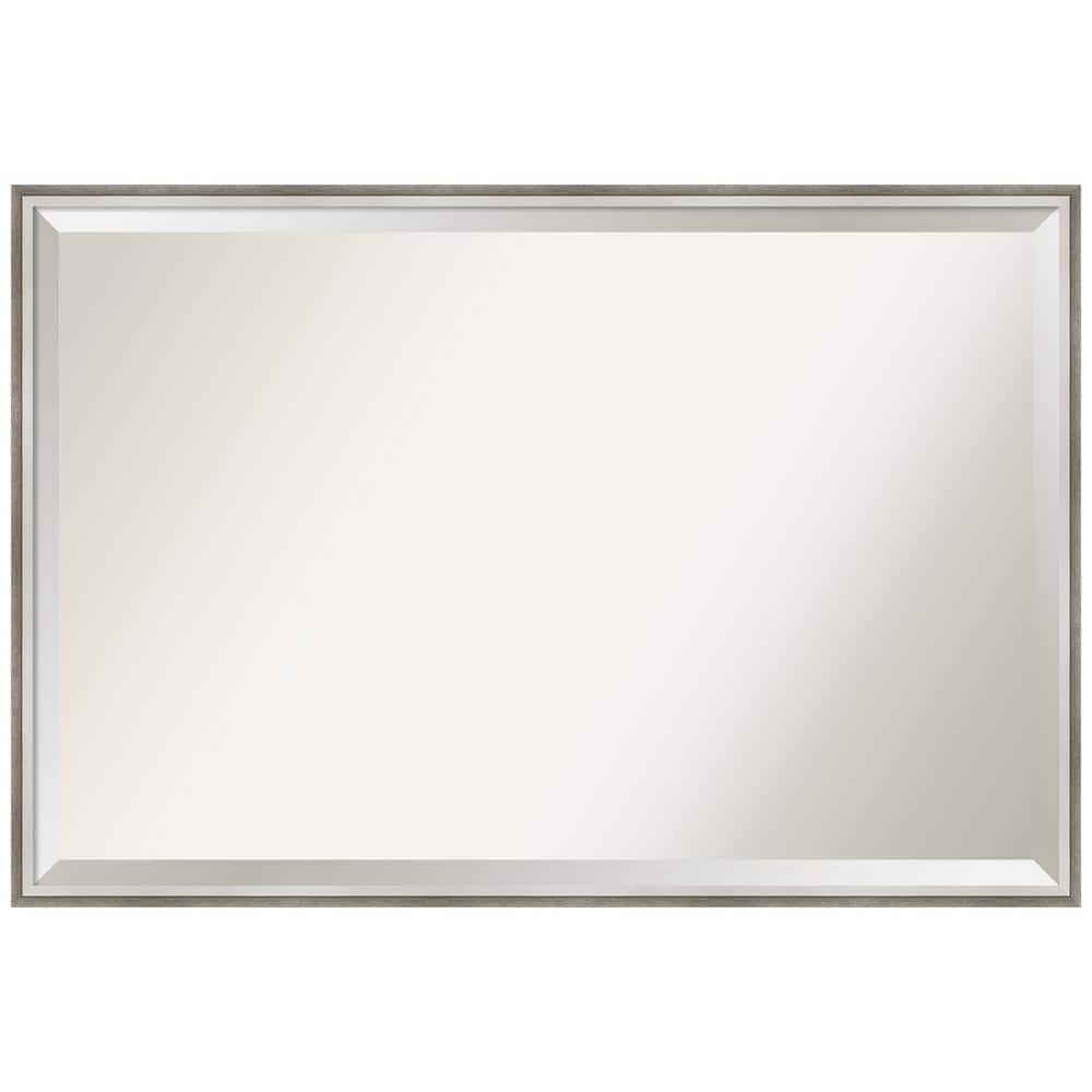 Amanti Art Medium Rectangle Satin Silver White Beveled Glass Modern Mirror 25 In H X 37 In W Dsw4819417 The Home Depot
