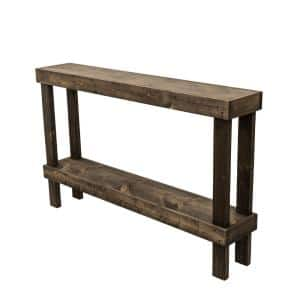 59 in. Dark Walnut Standard Rectangle Wood Console Table with Storage