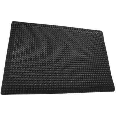 Reflex Double Sponge Glossy Black Raised Domed Surface 24 in. x 96 in. Vinyl Kitchen Mat