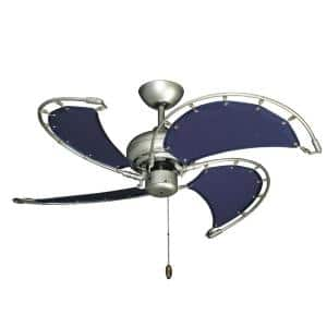 Voyage 40 in. Indoor/Outdoor Brushed Nickel BN-1 Ceiling Fan with Blue Fabric Blades