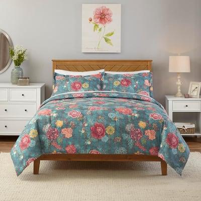 Natalie 2-Piece Green Floral Twin Comforter Set