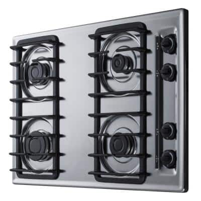 30 in. Gas Cooktop in Chrome with 4 Burners