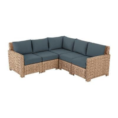 Laguna Point 5-Piece Natural Tan Wicker Outdoor Patio Sectional Sofa with Sunbrella Denim Blue Cushions
