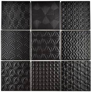 Spirit Black 11-5/8 in. x 11-5/8 in. x 6 mm Porcelain Mosaic Tile