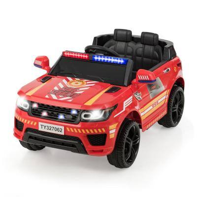 12-Volt Red Electric Kids Ride On Car with Remote Control Bluetooth Lights/Sounds