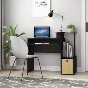 40 in. Rectangular Black/Brown 1 Drawer Computer Desk with Keyboard Tray