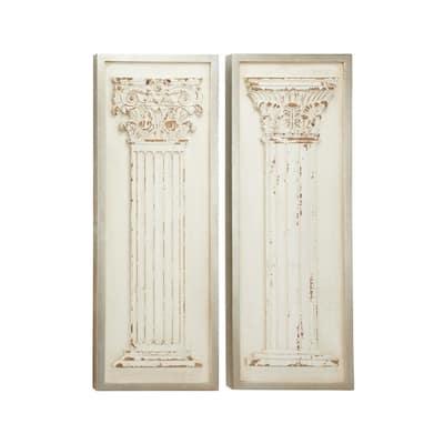 White Wood Vintage Wall Decor (Set of 2)