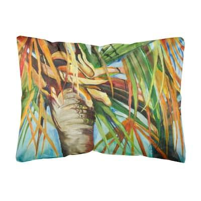 12 in. x 16 in. Multi-Color Lumbar Outdoor Throw Pillow Orange Top Palm Tree